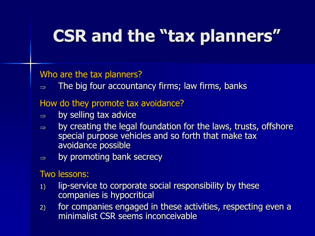 """CSR and the """"tax planners"""""""