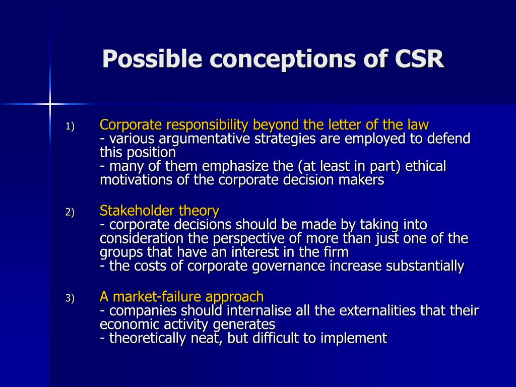 Possible conceptions of CSR