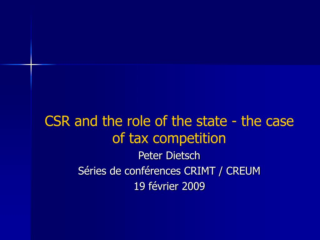 CSR and the role of the state - the case of tax competition