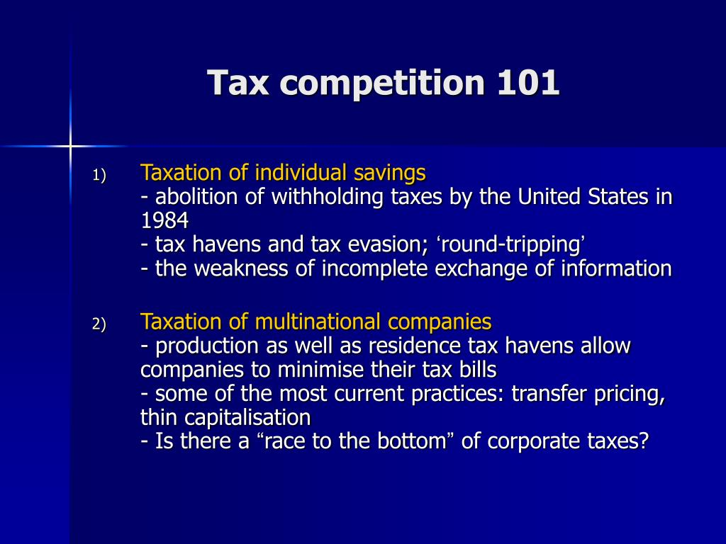 Tax competition 101