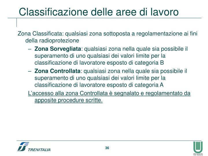 Zona Classificata: qualsiasi zona sottoposta a regolamentazione ai fini della radioprotezione