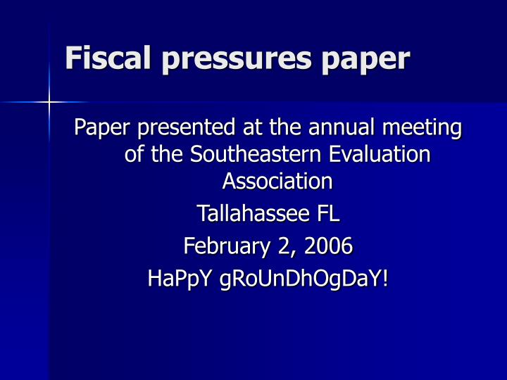 Fiscal pressures paper