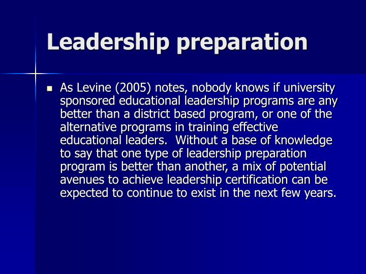Leadership preparation