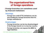 the organizational form of foreign operations12