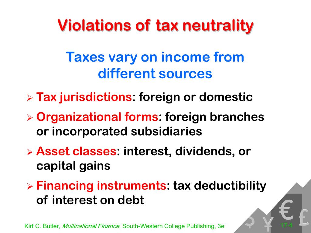 Violations of tax neutrality