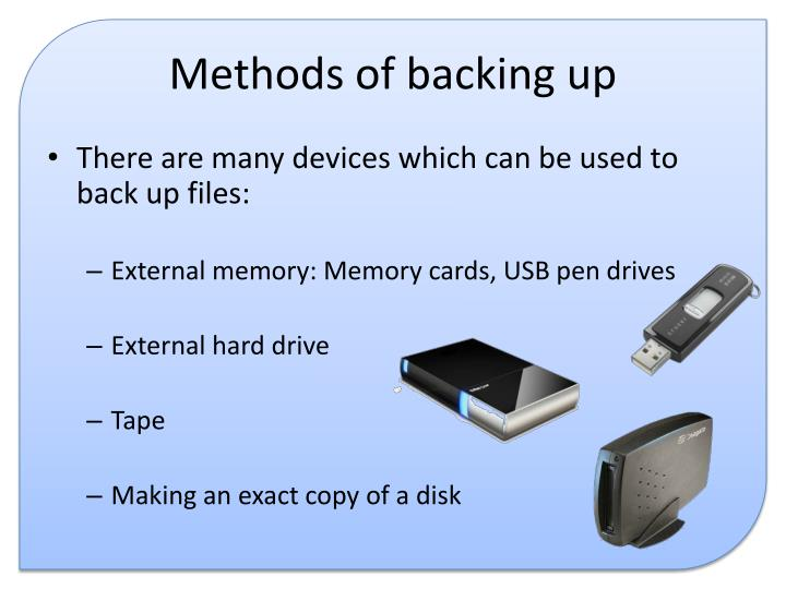 Methods of backing up