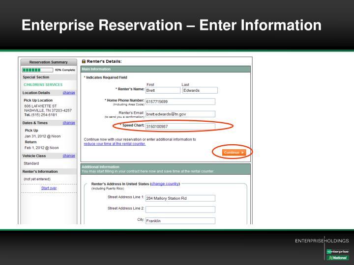 Enterprise Reservation – Enter Information