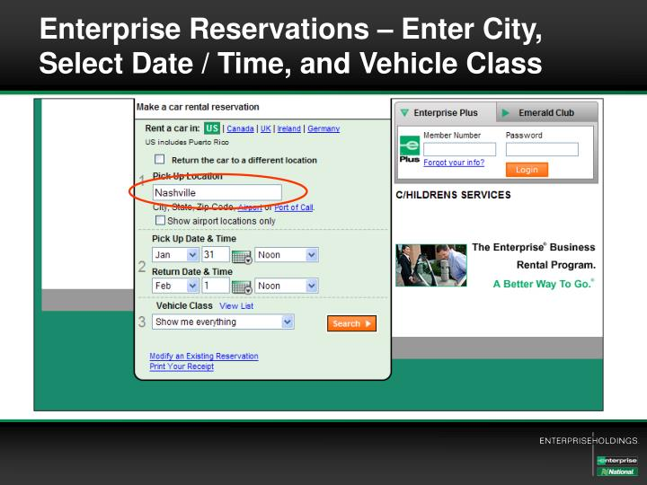 Enterprise Reservations – Enter City,  Select Date / Time, and Vehicle Class