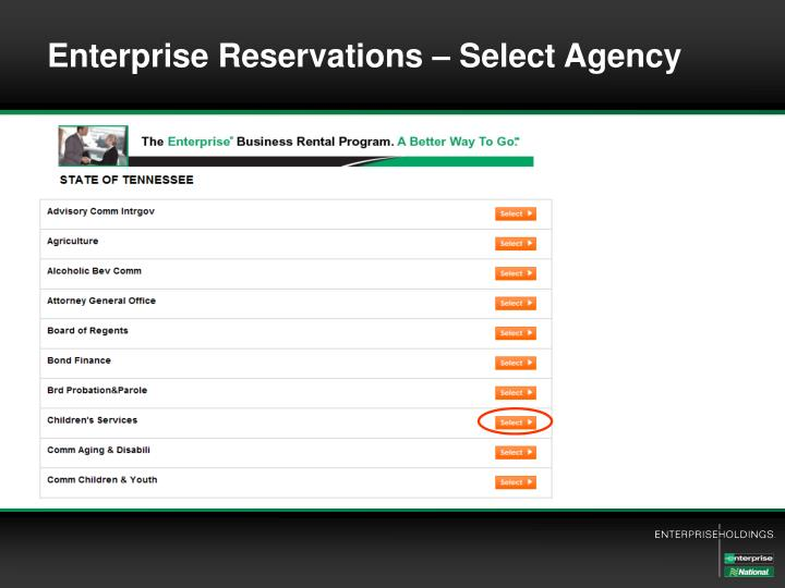 Enterprise Reservations – Select Agency