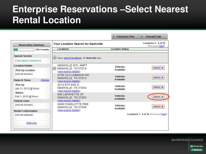 Enterprise Reservations –Select Nearest Rental Location