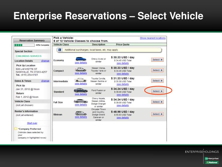 Enterprise Reservations – Select Vehicle