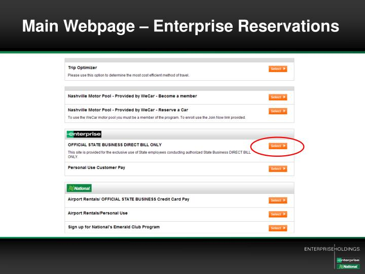 Main Webpage – Enterprise Reservations