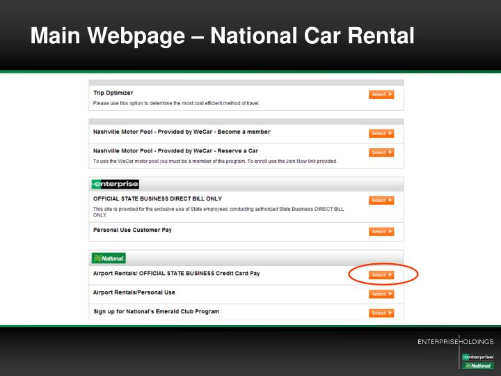 Main Webpage – National Car Rental