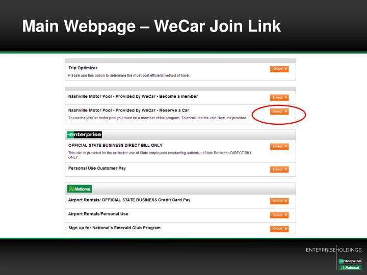Main Webpage – WeCar Join Link