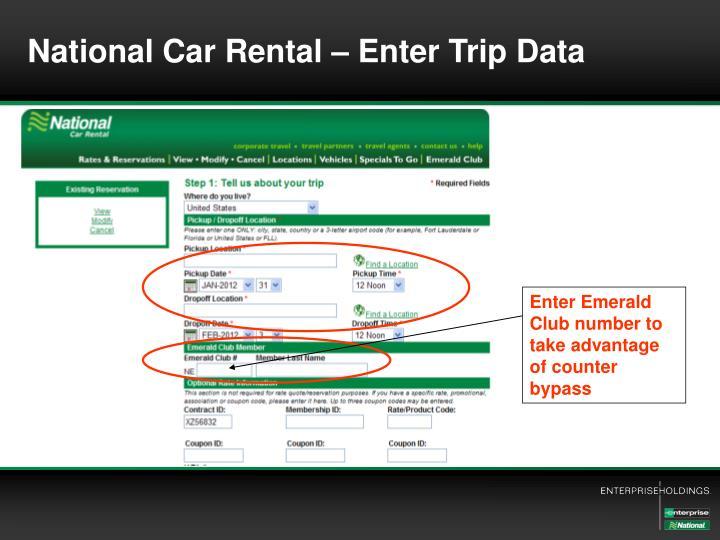 National Car Rental – Enter Trip Data