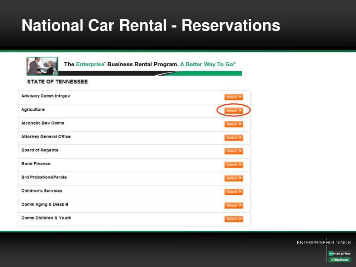 National Car Rental - Reservations