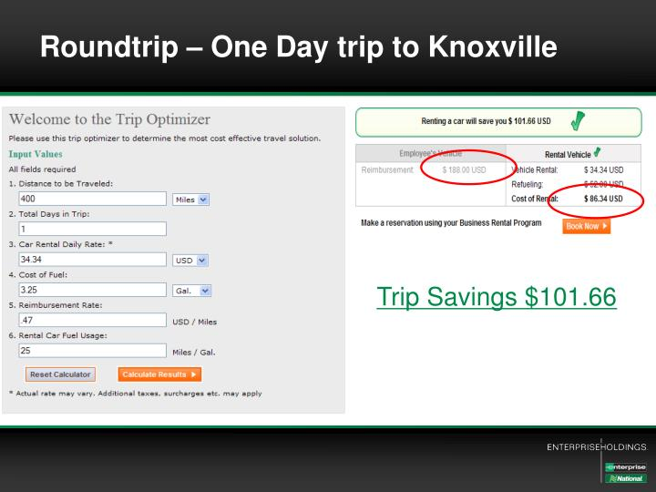 Roundtrip – One Day trip to Knoxville