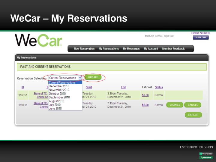 WeCar – My Reservations