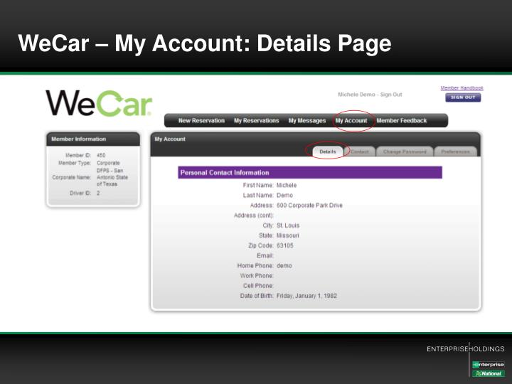 WeCar – My Account: Details Page