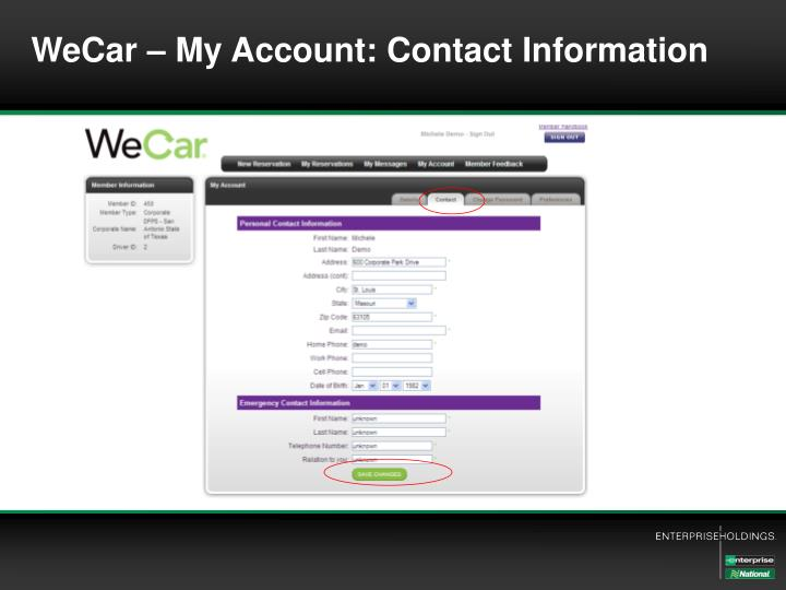 WeCar – My Account: Contact Information