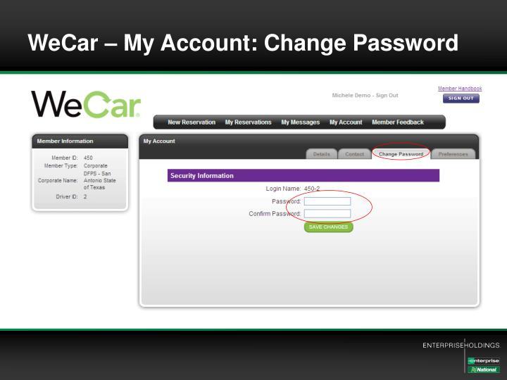 WeCar – My Account: Change Password