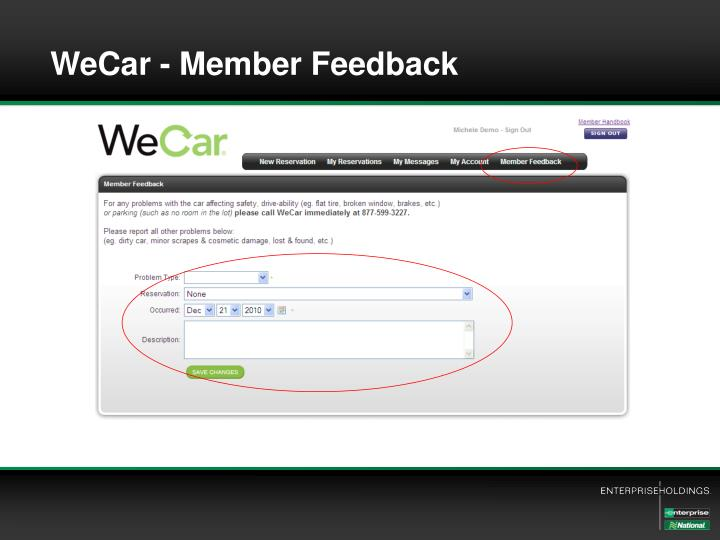 WeCar - Member Feedback