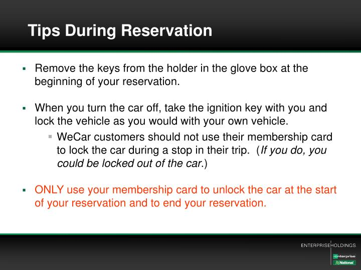 Tips During Reservation