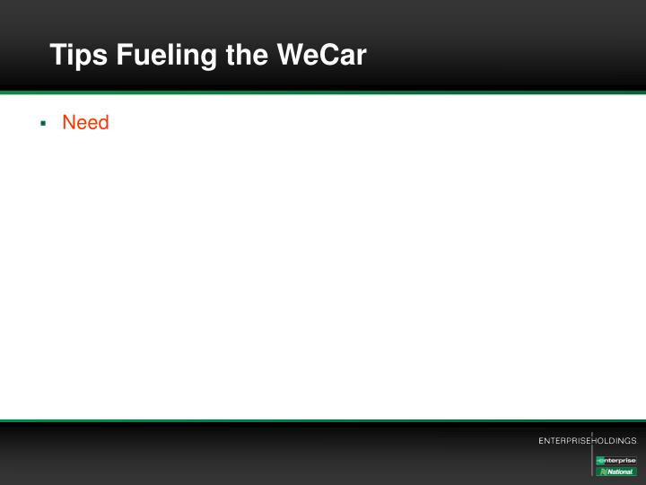Tips Fueling the WeCar