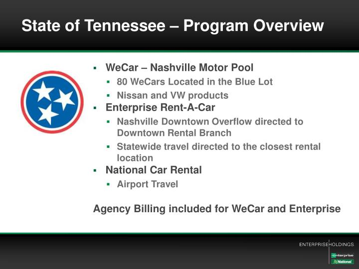 State of Tennessee – Program Overview