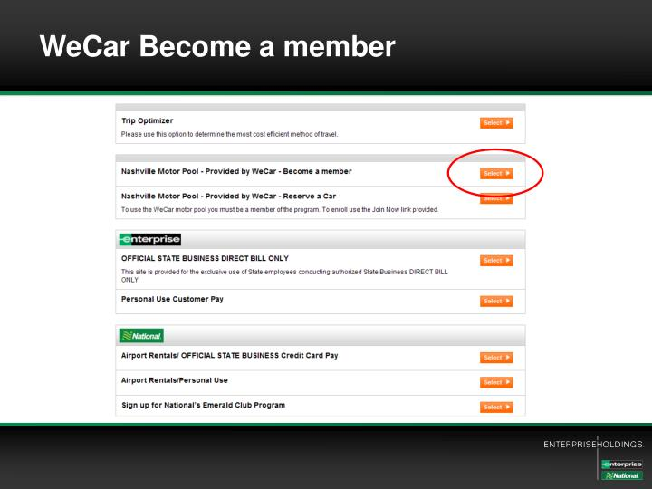 WeCar Become a member