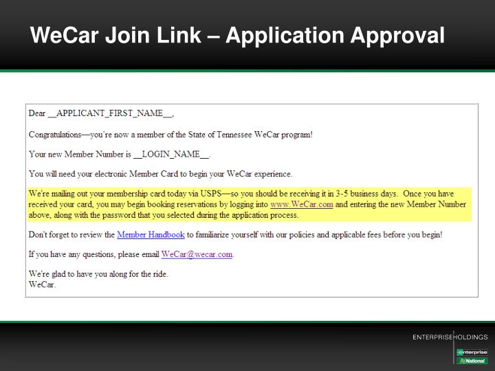 WeCar Join Link – Application Approval