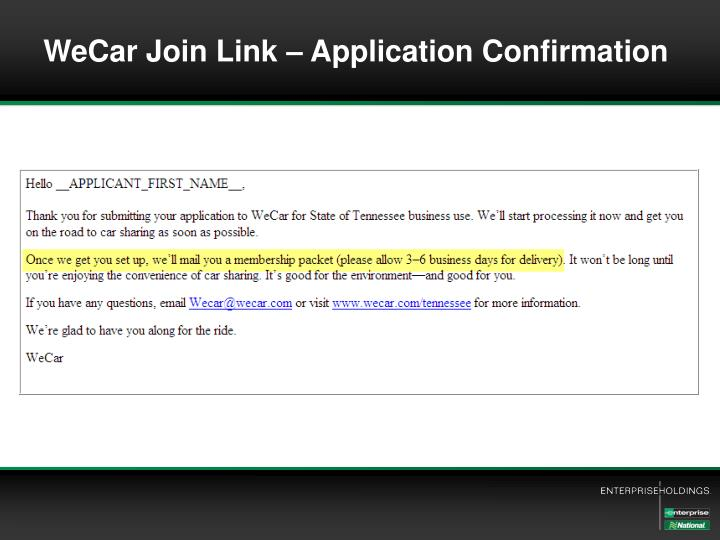 WeCar Join Link – Application Confirmation