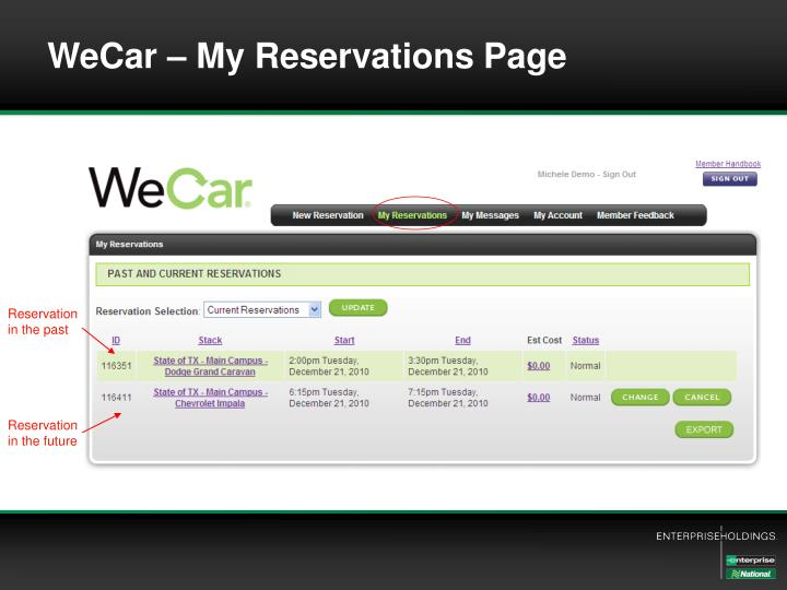 WeCar – My Reservations Page