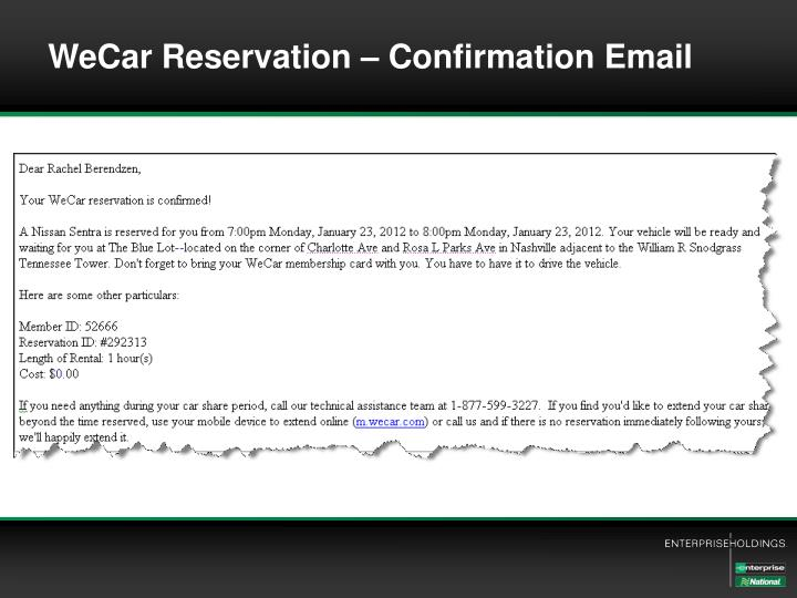 WeCar Reservation – Confirmation Email