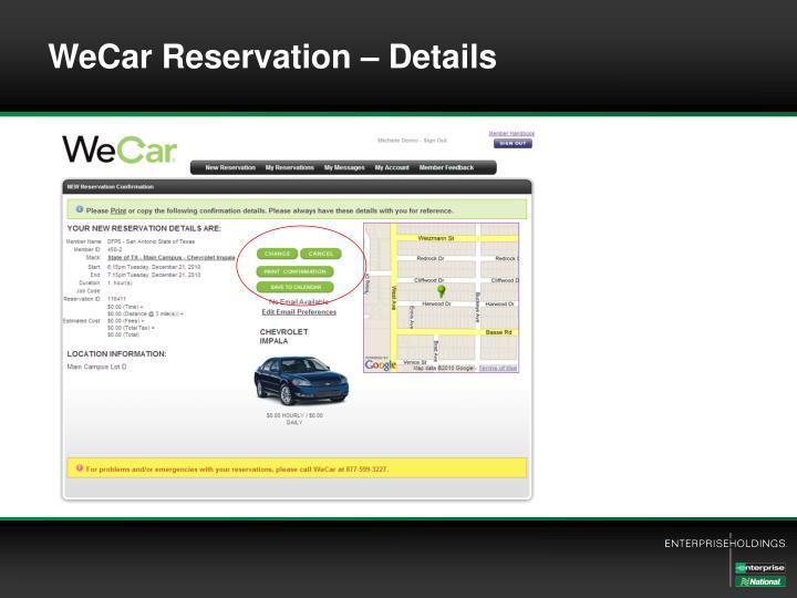 WeCar Reservation – Details
