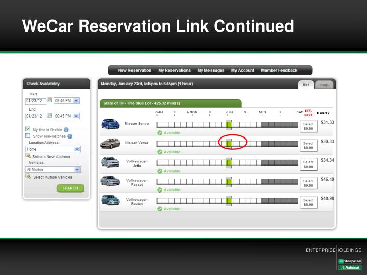 WeCar Reservation Link Continued