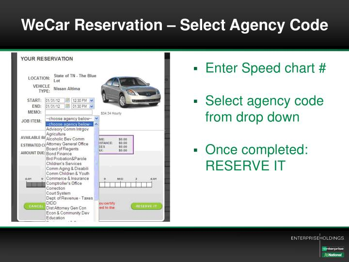 WeCar Reservation – Select Agency Code