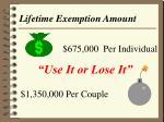 lifetime exemption amount