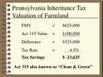 pennsylvania inheritance tax valuation of farmland