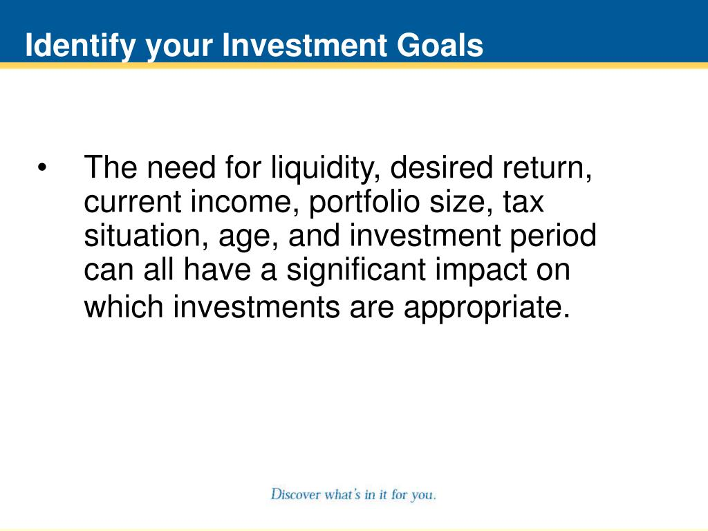 Identify your Investment Goals
