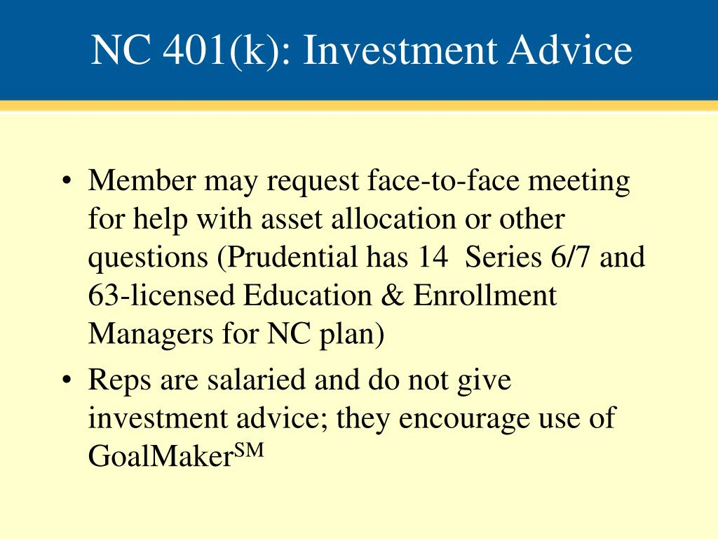 NC 401(k): Investment Advice