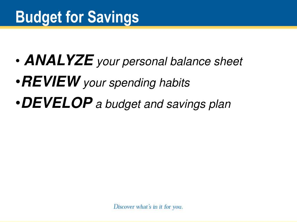 Budget for Savings