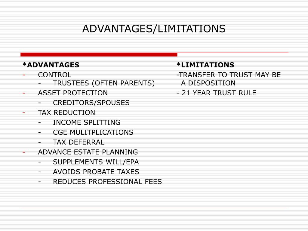 ADVANTAGES/LIMITATIONS