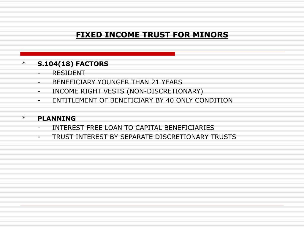 FIXED INCOME TRUST FOR MINORS
