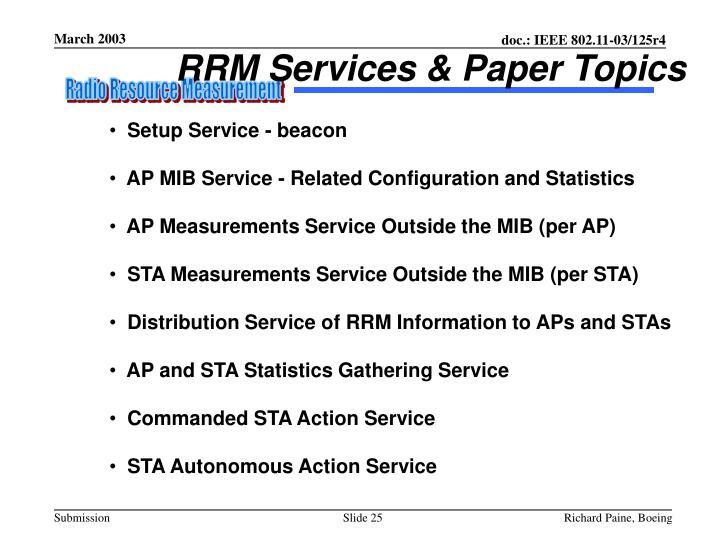 RRM Services & Paper Topics