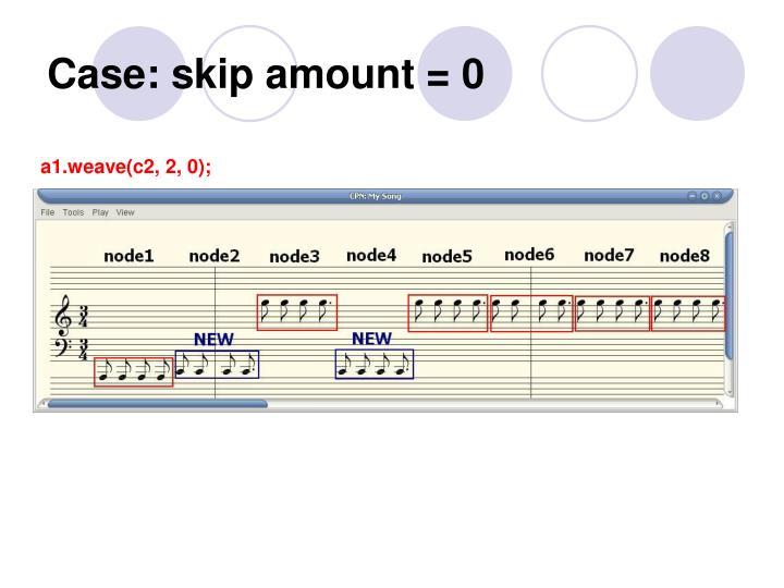 Case: skip amount = 0