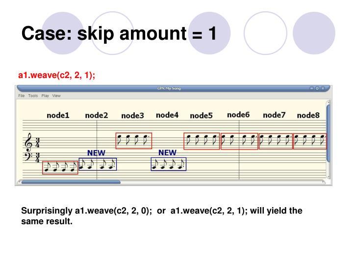 Case: skip amount = 1