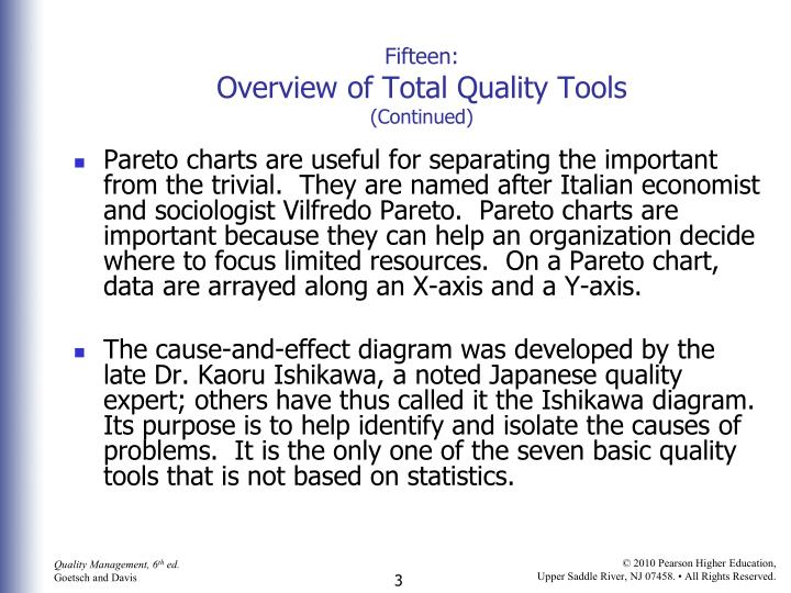 Fifteen overview of total quality tools continued