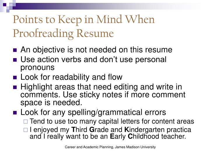 Points to Keep in Mind When Proofreading Resume