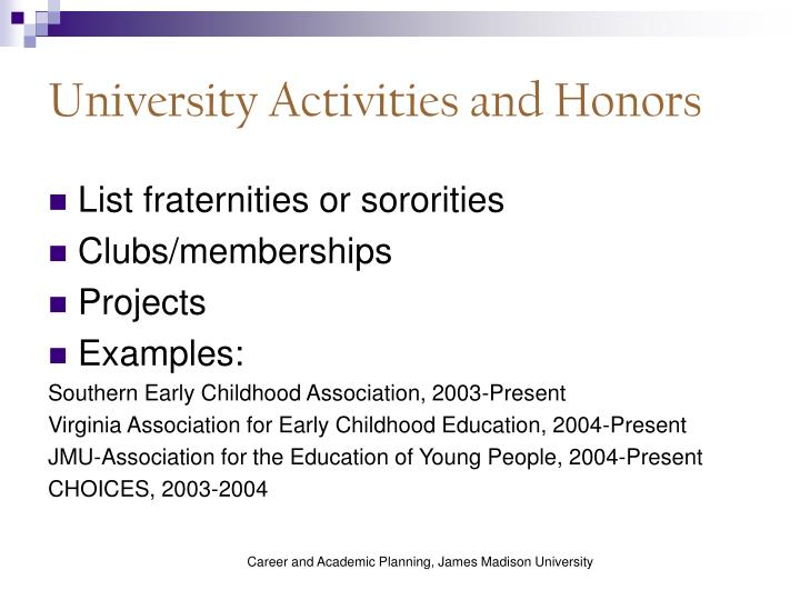 University Activities and Honors